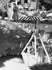 Water constantly seeped into hole dug Sept. 30, 1959