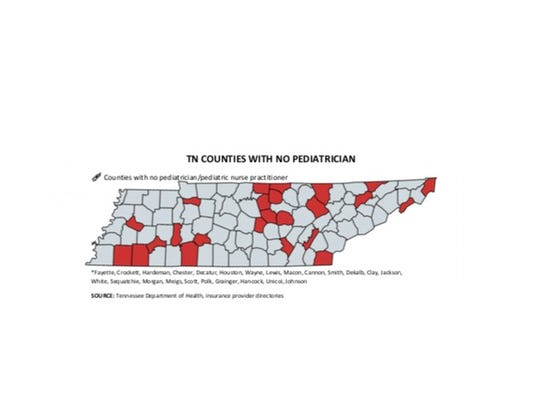 Tennessee counties with no pediatrician or pediatric