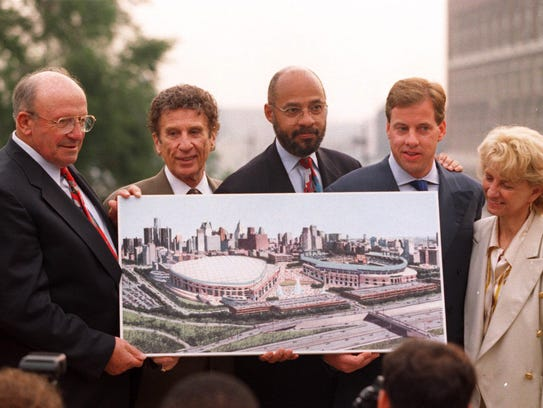 From left, Ed McNamara, Mike Ilitch, Dennis Archer,