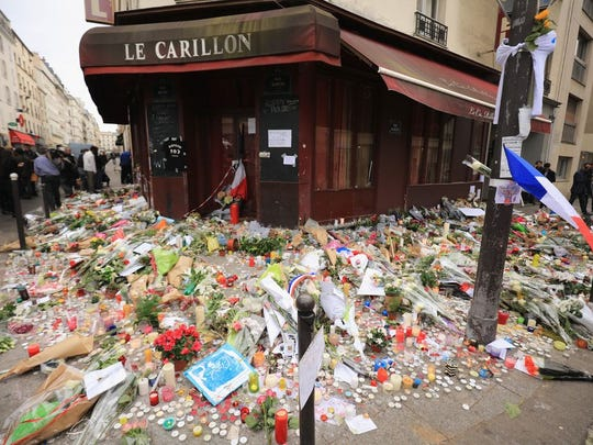 A view of the tributes outside the Le Carillon restaurant,