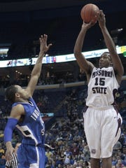 Jermaine Mallett launches a shot in the 2011 MVC title game, which the Bears lost as the No. 1 seed.