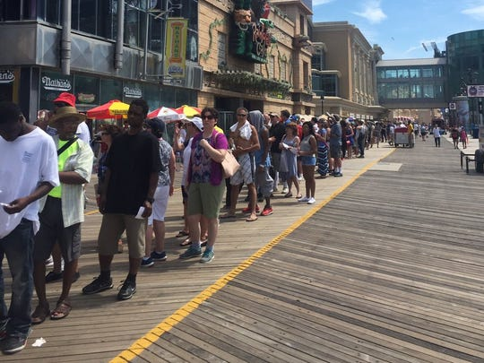 People in line for the Hillary Clinton event in Atlantic