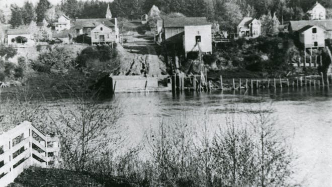 View of Butteville from across the Willamette River, circa 1910.
