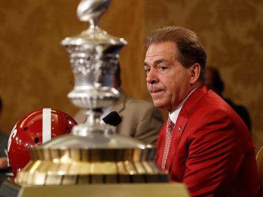 Alabama head coach Nick Saban speaks at a news conference for the upcoming Sugar Bowl semi-final playoff game, for the NCAA football national championship, in New Orleans, Sunday, Dec. 31, 2017. (AP Photo/Gerald Herbert)