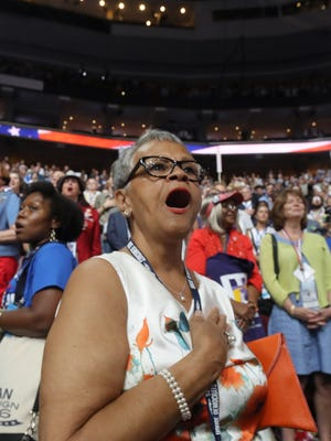 N.J. Congresswoman Bonnie Watson Coleman, shown on the Democratic National Convention floor in Philadelphia last summer, chose to attend a church service in Trenton rather than the inauguration.