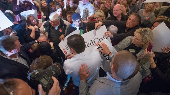 Cruz greets guests gathered for a campaign rally at