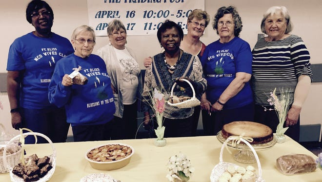 Members of the NCO Wives Club, from left, include Mary Jo Holifield, Trudy Ketcherside, Pat Murray, Earnestine Howard, Gisela Powers, Sue Gonzales and Christiane Petrin.
