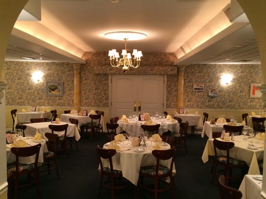 The dining room of Madeleine's Petit Paris where buffet-style
