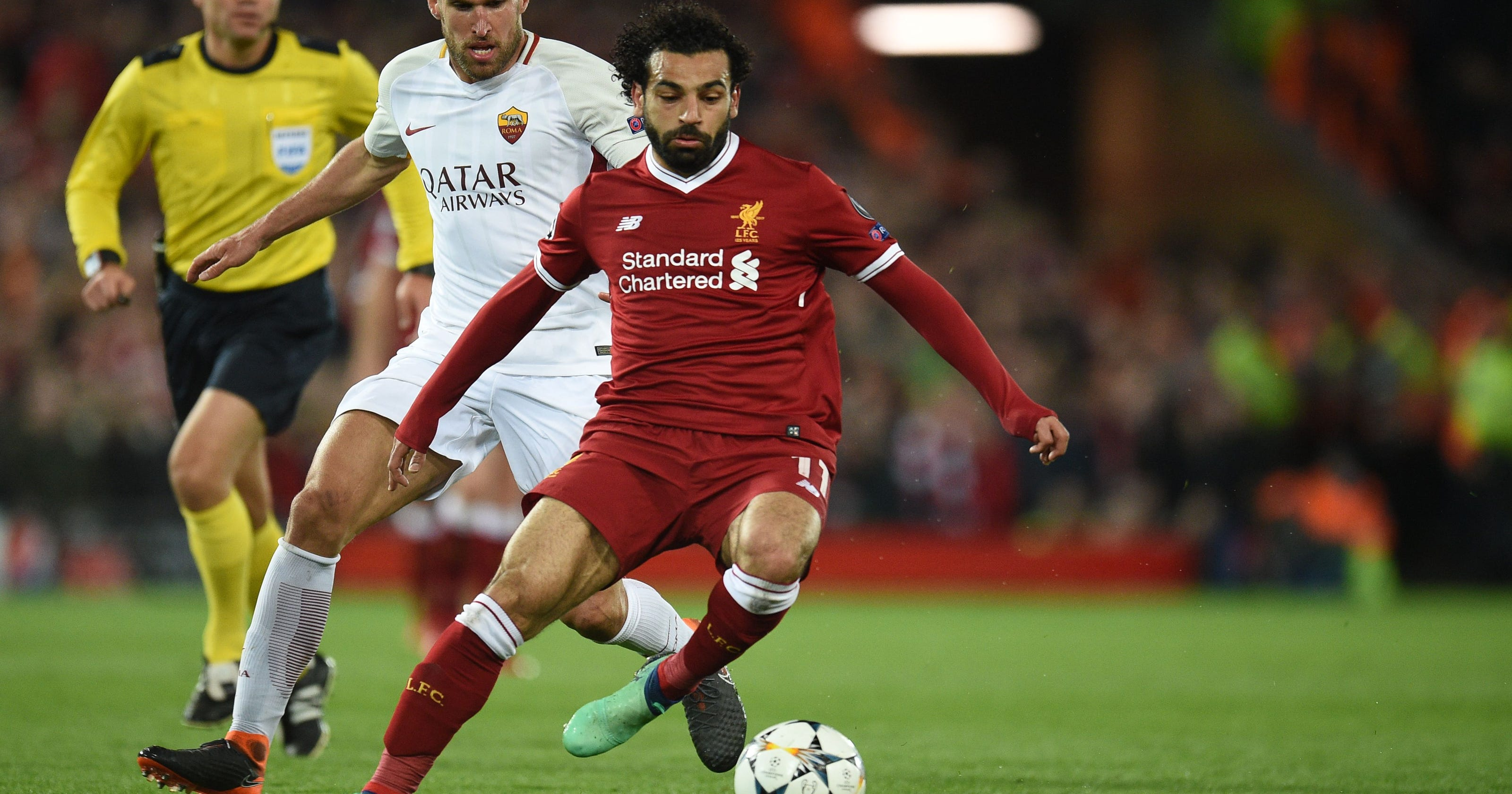 b1952ae9b810 Champions League soccer: Salah fires Liverpool to brink of final