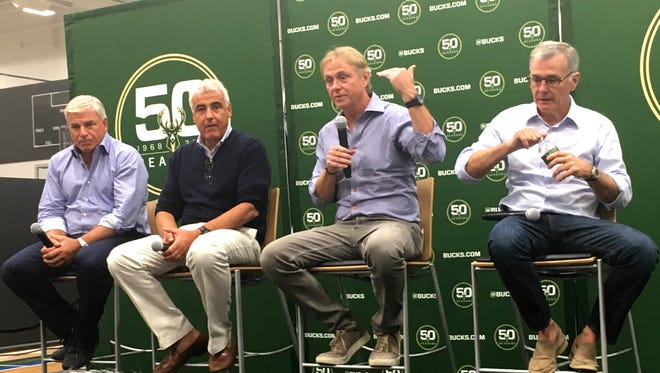 Milwaukee Bucks owners met with the media and expressed satisfaction about progress in construction of the arena and the season ahead. From left: Michael Fascitelli, Marc Lasry, Wes Edens and Jamie Dinan.