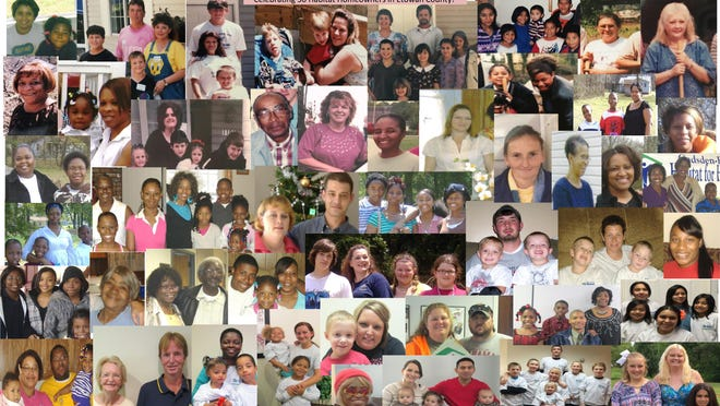 This collage provided by Gadsden-Etowah Habitat for Humanity shows the faces of families who have been helped by the Christian housing ministry.