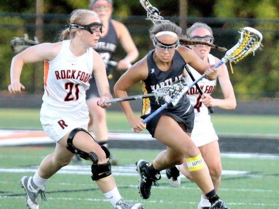 Hartland's Danielle Porath picks up the loose ball