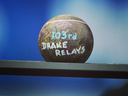 A shot put showcases the 105th Drake Relays on Saturday, April 26, 2014, at Drake Stadium in Des Moines, Iowa.