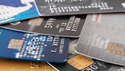 Stock image of credit cards.