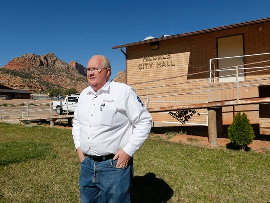 Hildale, Utah Mayor Phillip Barlow, speaks during an interview in front of the city hall, in a community on the Utah-Arizona border that has been home for more than a century to a polygamous sect that is an offshoot of mainstream Mormonism.