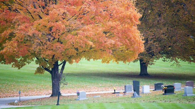 Fall color on Halloween at Crown Hill Cemetery, Indianapolis, Monday, Oct. 31, 2016.
