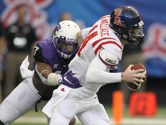 Paul Dawson (47) wouldn't be the first TCU linebacker drafted by the Colts in Round 1 (Jerry Hughes).