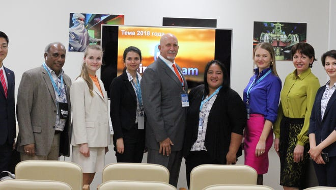 The Guam delegation at Russia's 22nd Pacific International Tourism Expo: From left: Kim Seong Tae, Jeju air Vladivostok branch manager; Roy Abraham, GVB vice chairman, Russia and new markets; Svetlana Borisenko, Jeju air Vladivostok branch sales manager; Alexandra Vasileva, GVB Russia representative; Bartley Jackson, member of GVB's Board of Directors; Regina Nedlic, GVB marking manager for the Philippines and Russia; Nadia Romanenko, PIC Russian sales manager; Lyudmila Tkachenko, Korean Airlines marketing manager; and Alexandra Karptsova, GVB Russia representative.