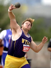 Wylie's Braden Darrow throws the shot during the Class 4A boys shot put at the UIL Track and Field State Championships on Friday, May 13, 2015, at Mike A. Myers Stadium in Austin. Darrow threw for 53-6.75 and finished sixth.