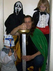 Roger Rutenber (center) at Halloween in 2010.