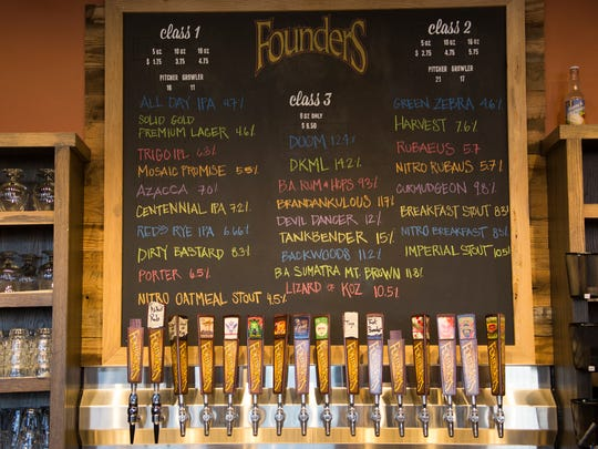 The beer on tap at Founders Brewing Co. in Detroit on Friday, Dec. 1, 2017.