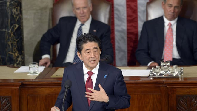 Japanese Prime Minister Shinzo Abe addresses a joint session of Congress in Washington, D.C., on April 29, 2015.