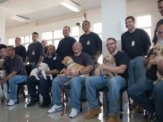 Inmates at Eastern Oregon Correctional Institution pose with the puppies they'll train into assistance dogs.