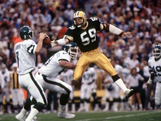 Green Bay Packers John Anderson, Ken O'brien on 9/2/85,
