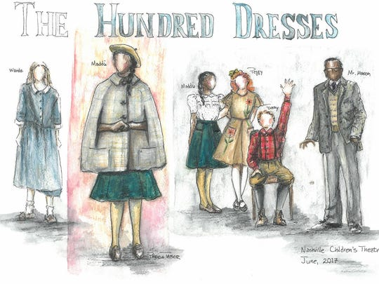 """Rendering of costumes from """"The Hundred Dresses"""" from NCT's resident costume designer Patricia Taber."""
