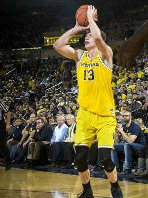 """Despite his role inside, 6-foot-11 Michigan junior forward Moritz """"Moe"""" Wagner is a capable 3-point shooter."""