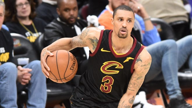 May 5, 2018; Cleveland, OH, USA; Cleveland Cavaliers guard George Hill (3) during the second half in game three of the second round of the 2018 NBA Playoffs at Quicken Loans Arena. Mandatory Credit: Ken Blaze-USA TODAY Sports