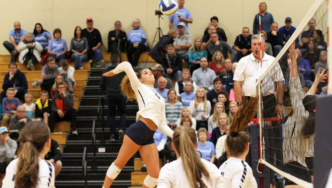 Lake Country Lutheran's Brooke Andersen winds up for an attack against Living Word Lutheran in the sectional semifinal Oct. 26.