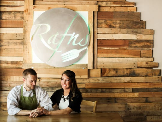 Old pallets were used to construct the Rafn logo and