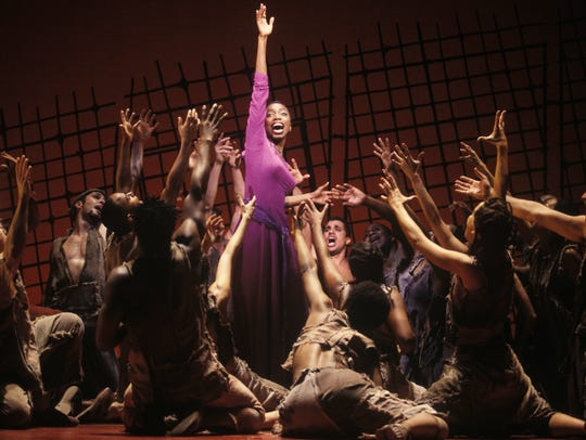 Heather Headley, as Aida, sings of the torment her