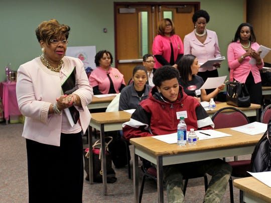 Program Chairman Ludieann Menzies, left, facilitates the program. The Nu Xi chapter of the AKA Sorority, the oldest sorority founded by African-American women launches a mentoring program for high school students, at RVCC in Branchburg.