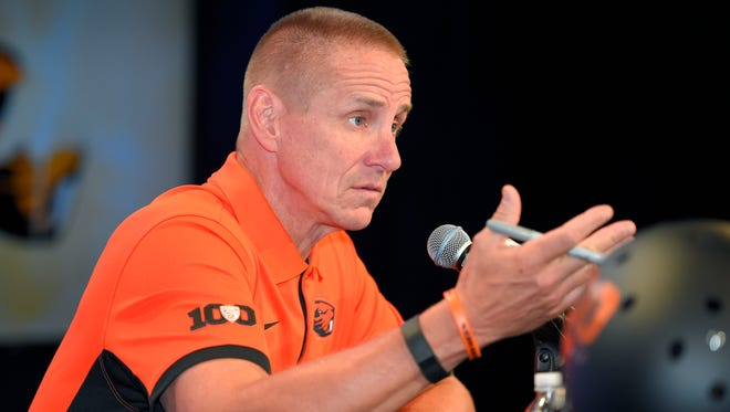 Oregon State head coach Gary Andersen speaks to reporters during Pac-12 Football Media Days, Thursday, July 30, 2015, in Burbank, Calif.