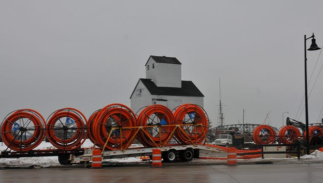 Improvements to TID 4 on the west side waterfront in Sturgeon Bay have been ongoing. Some projects were contracted out before a lawsuit was filed that could change the dynamic of a planned development on the site. These spools of cable were related to relocation of AT&T fiber optic lines.