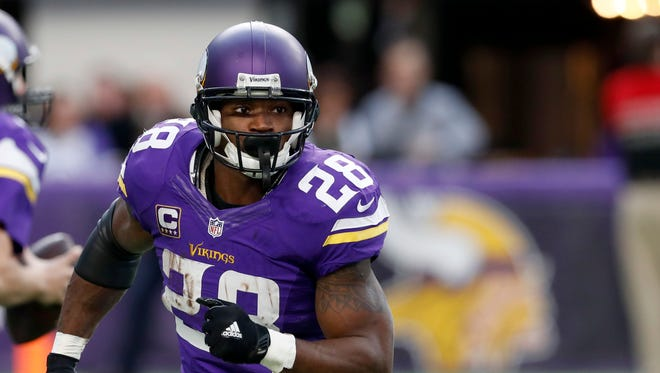 Vikings running back Adrian Peterson played 12 snaps and rushed for 22 yards on six carries in a 34-6 loss to the Colts on Sunday.