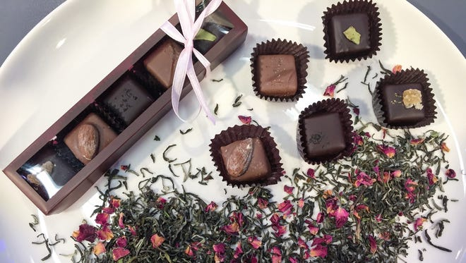 The tea-infused chocolates from Leaf Tea Bar are made by Hedonist Artisan Chocolates.
