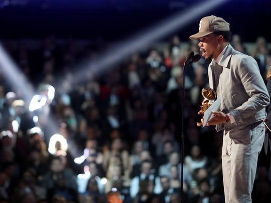 Chance the Rapper accepts the Grammy Award for Best New Artist in February. He is one of five headliners at this year's Firefly Music Festival in Dover.