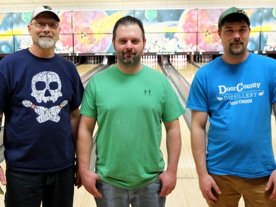 From left, David Franke, Brandon Delchambre and Adam Goldman after the Apple Valley Lanes singles tournament.