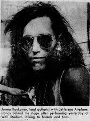 Jefferson Airplane's lead guitarist Jorma Kaukonen mingles with the crowd at Wall Stadium, Aug. 15, 1971
