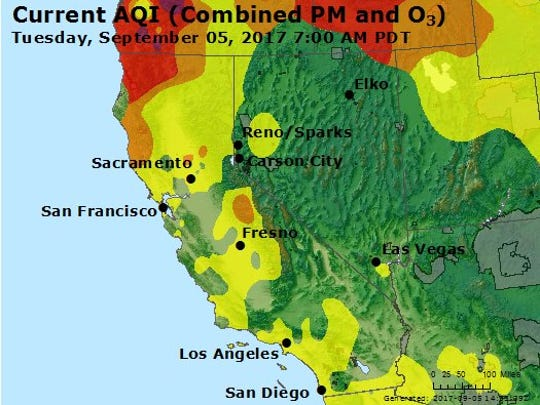 This map of California is illustrated with colors that correspond to the Air Quality Index categories below.