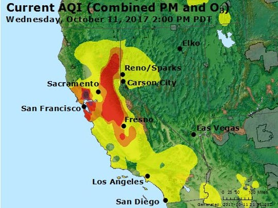 Snapshot of air quality in California and Nevada on