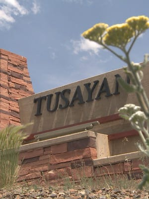 The welcome sign for Tusayan, Ariz.