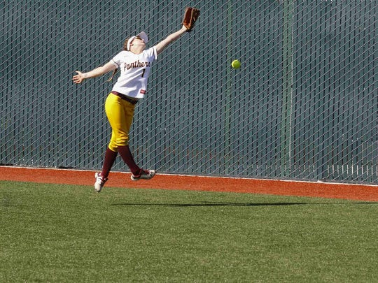 Hartnell's Josephine Savoldi misses a ball hit to right field during a Coast Conference: South Division championship softball game between Hartnell College and Monterey Peninsula College at Hartnell Community College on Thursday, April 20, 2017 in Salinas, Calif. Vernon McKnight/for The Californian