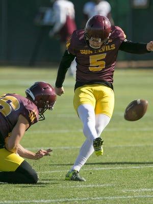 ASU kicker Zane Gonzalez follows through on a kick during an ASU spring football practice on Wednesday, March 20, 2016.
