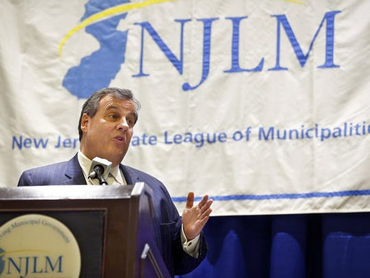 NJ Governor Chris Christie delivers remarks during