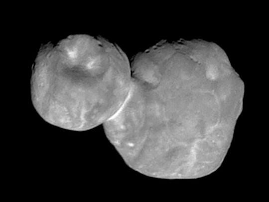 This Tuesday, Jan. 1, 2019, file image made available by NASA shows the Kuiper belt object Ultima Thule, about 1 billion miles beyond Pluto, encountered by the New Horizons spacecraft.