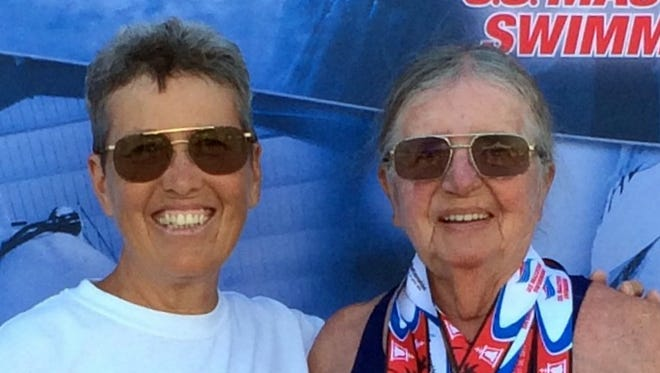 Pamela Gulbrandson, left, and Yenny van Dinter trekked to Riverside, CA to compete in the US Masters Spring Nationals.